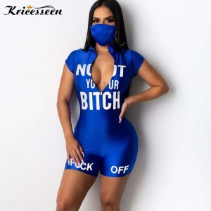 Kricesseen Sexy Print Letter Skinny Short Jumpsuit Summer Women Front Zip Up Playsuit Overalls Sportwear One Pieces Rompers
