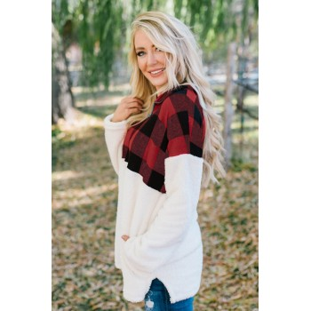 Black Fuzzy Pullover with Plaid Detail Green Red