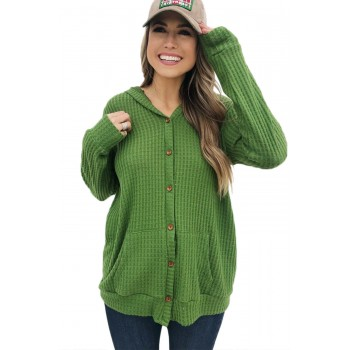 Black Open Front Pocket Button Down Knit Cardigan Coat Green Red