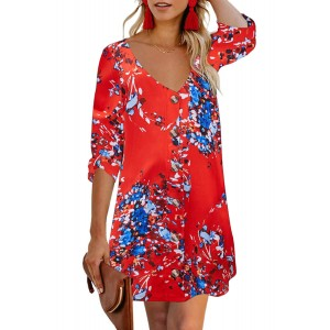 Black V Neck 3/4 Roll Sleeve Button Down Floral Dress Red