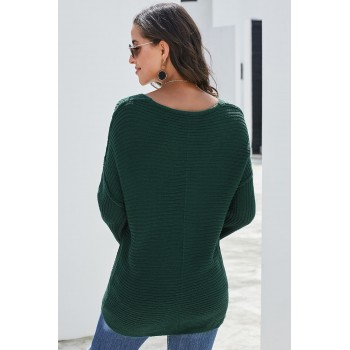 Brown Textured V Neck Pullover Sweater Red Green Black