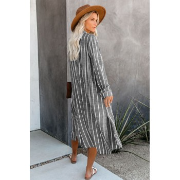Gray Layover Button Down Shirt Dress Beachwear