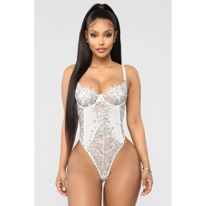 White Contrasting Positions Lace Teddy Green