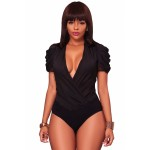 Black Chiffon Draped Sleeves Bodysuit