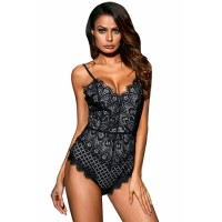 Black Lined Lace Bodysuit