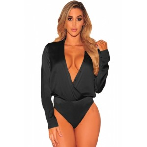 Black Silky Faux Wrap Bodysuit