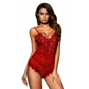 Red Lined Lace Bodysuit