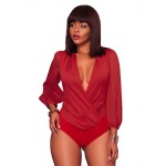 Red Plunging Neckline Long Sleeve Bodysuit