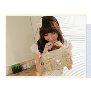 Casual Trendy Vintage Women's Shoulder Bag With Stone Veins Buckle and Lace Design