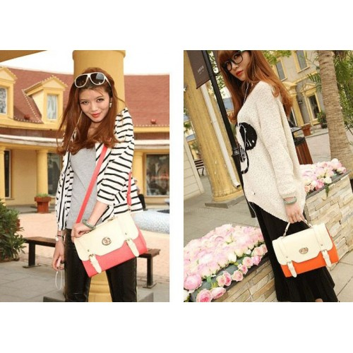 Casual Women S Cross Body Bag With Vintage Color Block Belts Design