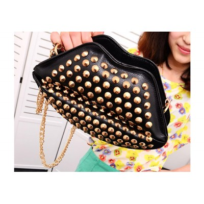 Casual Women's Crossbody Bag With Rivets and Lip Design