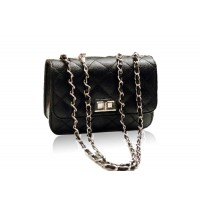 Elegant Women's Shoulder Bag With Solid Color Checked and Chains Design