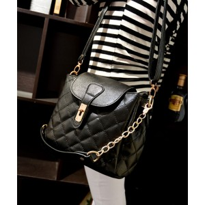 Fashion Women's Crossbody Bag With Checked and Metallic Chain Design