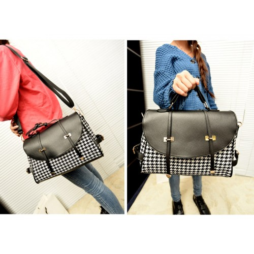 a3a09d943b19 Fashion Women s Crossbody Bag With Houndstooth and Buckle Design Zoom.  Product ...