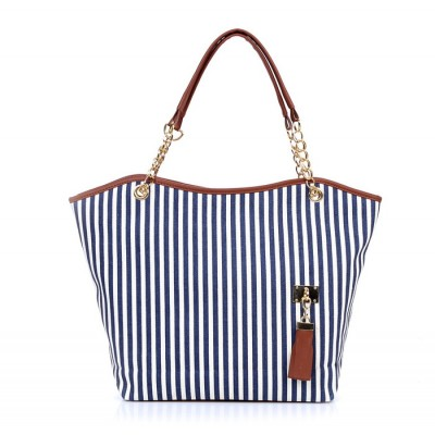 Fashion Women's Shoulder Bag With Striped and Metallic Chains Design