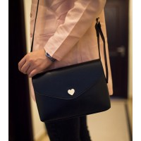 Korean Style Women's Crossbody Bag With Solid Color and Heart Shape Design