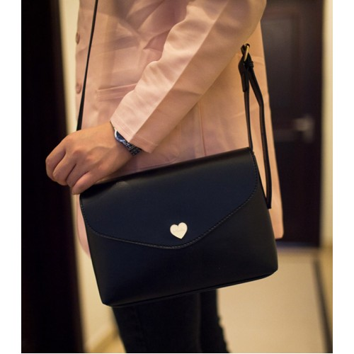 Korean Style Women S Crossbody Bag With Solid Color And Heart Shape Design