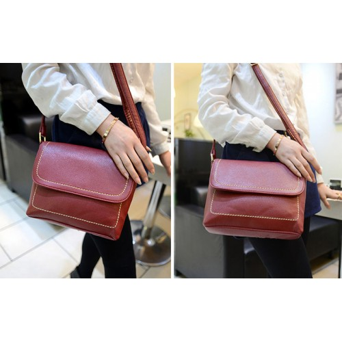 Korean Style Women S Crossbody Bag With Sching And Solid Color Design Wine Red Black Brown