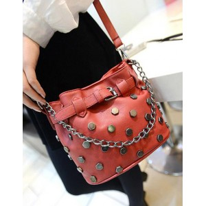 Punk Style Women's Crossbody Bag With Rivets and Chain Design Red/Black