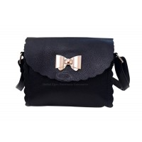 Retro Style Women's Crossbody Bag With Ruffles and Bowknot Design