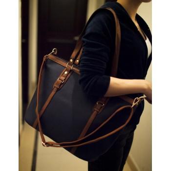 Simple Women S Shoulder Bag With Color Block And Rivets Design