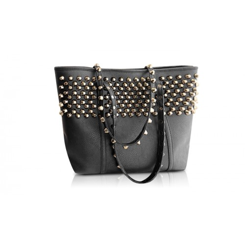 Stunning Women S Shoulder Bag With Rivets And Pu Leather Design