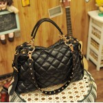Stylish Rhombus Embossing Embellished and Zipper Design Handbag/One-Shoulder Bag For Female