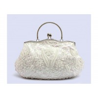 Stylish Vintage Party Women's Evening Bag With Sequins Bead and Kiss-Lock Closure Design