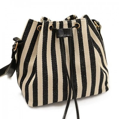 Stylish Women's Crossbody Bag With Stripe and String Design