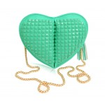 Sweet Women's Crossbody Bag With Rivets and Heart Shape Design