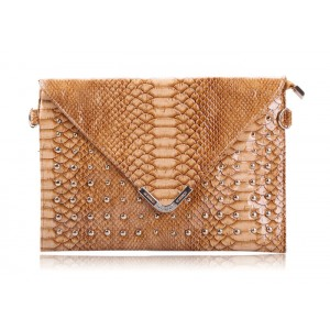 Trendy Style Women's Crossbody Bag With Snake Veins and Rivets Design