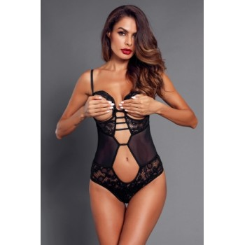 Black Lace Mesh Cutout Open Cup Teddy Red