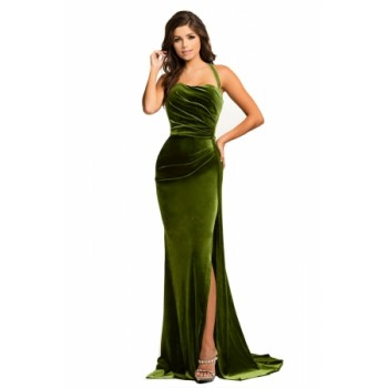Black Thigh High Split Velvet Evening Gown Green Red