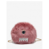 Eyes Pattern Faux Fur Crossbody Bag - Light Pink