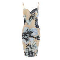 Floral Print Spaghetti Strap Bodycon Dress - Blanched Almond