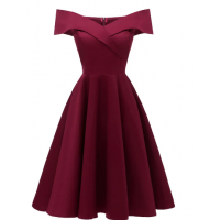 Off The Shoulder Foldover Cocktail Dress - Deep Blue Red Wine