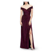 Off The Shoulder Maxi Evening Dress - Red Wine