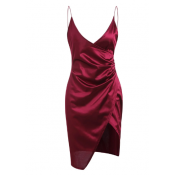 Slit Plunging Neck Bodycon Dress - Rosy Finch