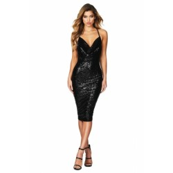 Black Seductive Sequin Midi Club Dress Red Blue