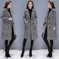 Hodisytian Winter Women Wool Blends Plaid Trench Coat Elegant Outerwear Casual Loose Thick Cardigan Female Cashmere Overcoat 3XL