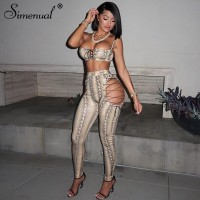 Simenual Serpentine Lace Up Sexy Two Piece Sets Women Strap Camis And Pants Midnight Clubwear Co-ord Set Skinny Wild Hollow Out Khaki Red