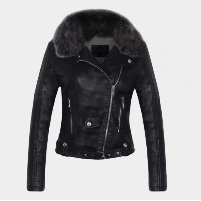 2019 Hot Women Winter Warm Faux Leather Jackets with Fur Collar Lady White Black Pink Wine Red Motorcycle Biker Outerwear Coats
