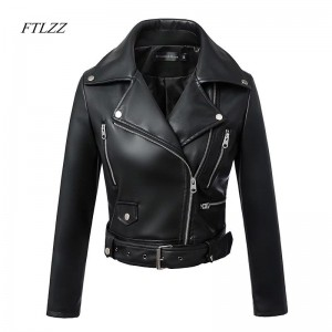 FTLZZ 2019 New Fashion Women Autumn Winter Black Faux Leather Jackets Zipper Basic Coat Turn-down Collar Biker Jacket With Blet