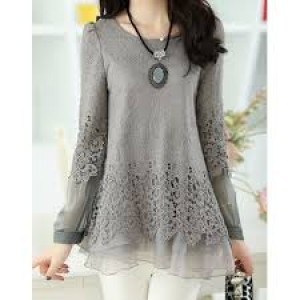 Solid Color Long Sleeve Round Collar Skirt Hem Lace Embellished T-shirt For Women gray black 2XL