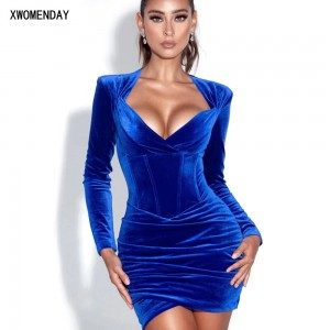 Autumn Winter Velvet Dress Fashion Sexy Ladies Ruched Tight Bodycon Dresses For Women Party Night Club Clothes New Arrival 2020