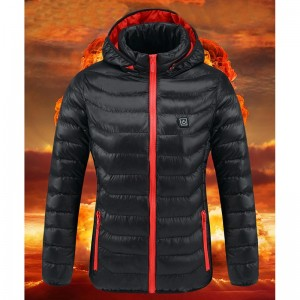 Women USB Electric Battery Heated Jackets Outdoor Long Sleeves Heating Hooded Coat Jackets Warm Winter Thermal Clothing