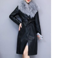2019 Winter Commute Long Sleeve Elegant Slim Leather Jacket Female Clothing Chaquetas Mujer Manteau Femme Hiver Coat Women