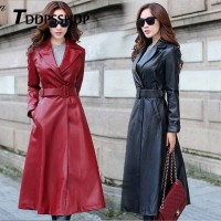 Black and Red Color Long Spring Thick Women Leather Coat Long Sleeve Waist Strap Pocket Female Jacket Red Black