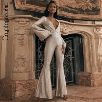 Cryptographic 2019 Winter Sexy V-Neck Glitter Jumpsuits Elegant Long Sleeve Overalls for Women Flare Jumpsuit Party Club