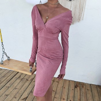 Cryptographic Velvet Sexy V-Neck Winter Dresses Women Midi Dresses Fashion Christmas Wrap Long Sleeve Bodycon Dress Solid Pink Apricot